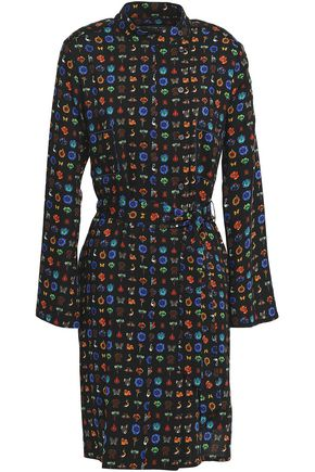 ETRO Belted printed wool-twill dress