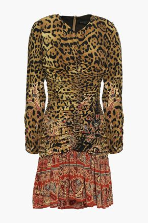 ETRO Ruched printed silk crepe de chine mini dress