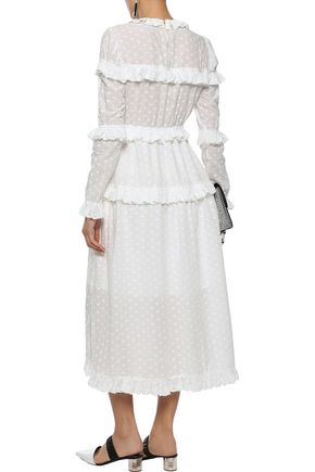 GOEN.J Ruffle-trimmed broderie anglaise cotton midi dress