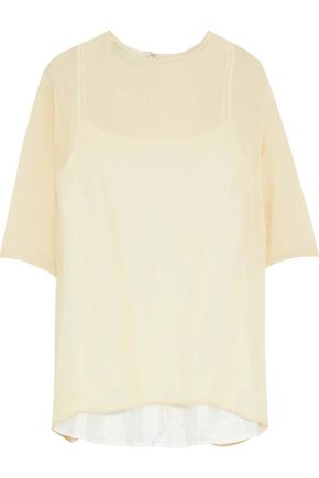 MANSUR GAVRIEL Silk-blend seersucker top