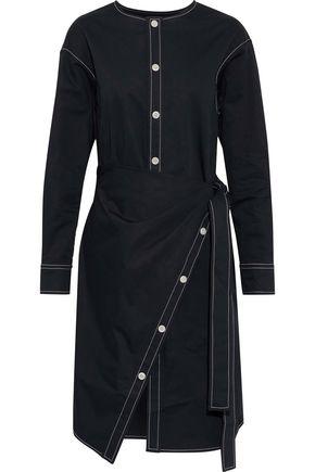 GOEN.J Wrap-effect button-detailed cotton-poplin shirt dress