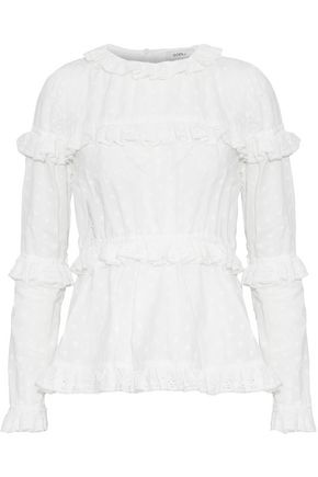 GOEN.J Ruffled broderie anglaise-trimmed fil coupé cotton top