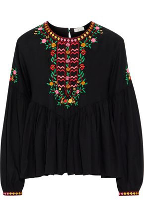 JOIE Ghita embroidered gathered voile blouse
