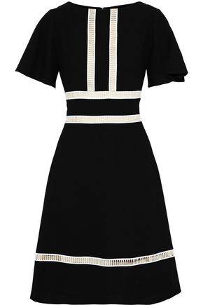 CAROLINA HERRERA Lattice-trimmed wool-crepe dress