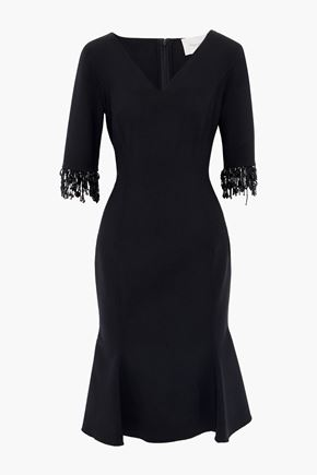 CAROLINA HERRERA Fluted bead-embellished stretch-wool crepe dress
