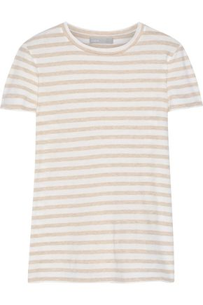 VINCE. Striped cotton-jersey T-shirt