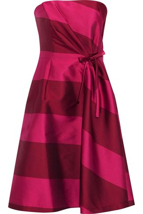CAROLINA HERRERA Strapless bow-embellished striped satin dress