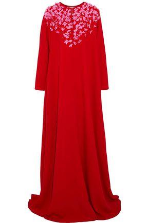 CAROLINA HERRERA Floral-appliquéd silk-crepe gown