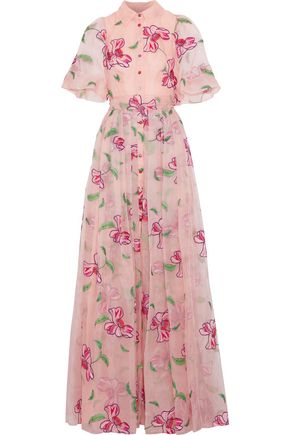 CAROLINA HERRERA Tie-back embroidered silk-organza gown