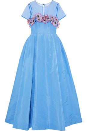 CAROLINA HERRERA Floral-appliquéd tulle-paneled silk-faille gown