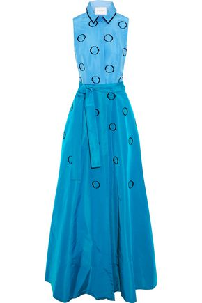 CAROLINA HERRERA Bead-embellished two-tone silk-faille gown