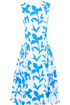 CAROLINA HERRERA Pleated printed cotton-blend dress