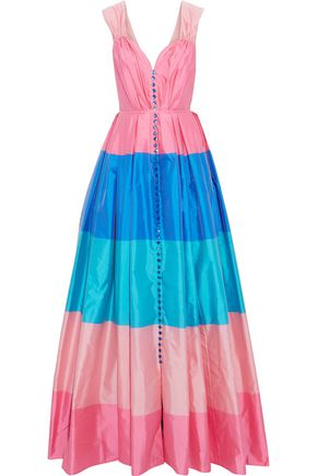 CAROLINA HERRERA Pleated color-block taffeta gown