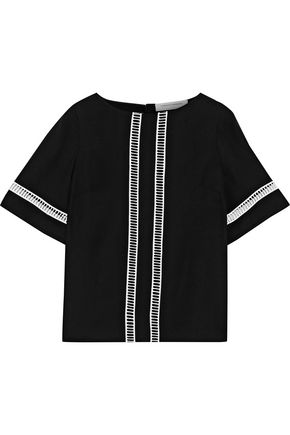 CAROLINA HERRERA Lattice-trimmed silk-crepe blouse