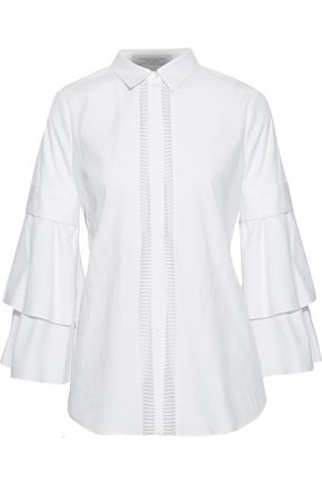 CAROLINA HERRERA Lattice-trimmed cotton-blend poplin shirt