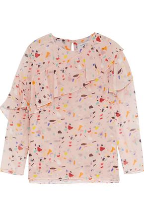 CAROLINA HERRERA Ruffled printed silk-georgette blouse