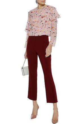 CAROLINA HERRERA Ruffled printed silk-georgette blouse