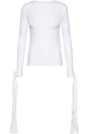 J.W.ANDERSON Tie-detailed ribbed cotton top