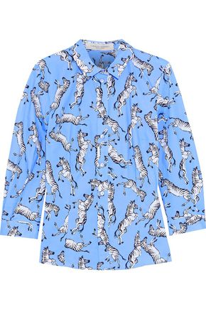 CAROLINA HERRERA Printed stretch-cotton poplin shirt
