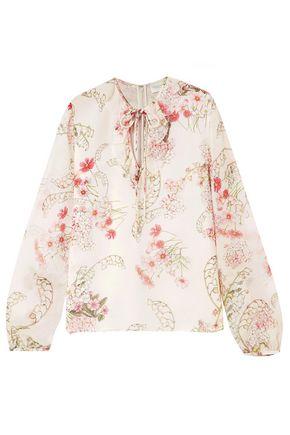 GIAMBATTISTA VALLI Ruffle-trimmed floral-print silk-georgette blouse