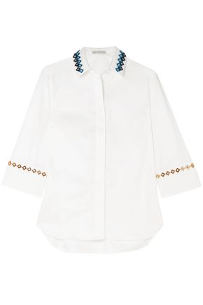 MARY KATRANTZOU Rita embellished cotton-blend poplin shirt