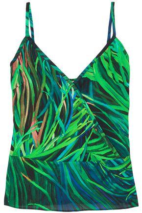 ELIE SAAB Wrap-effect printed silk-crepe camisole