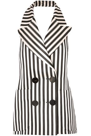 PETAR PETROV Double-breasted striped silk halterneck top