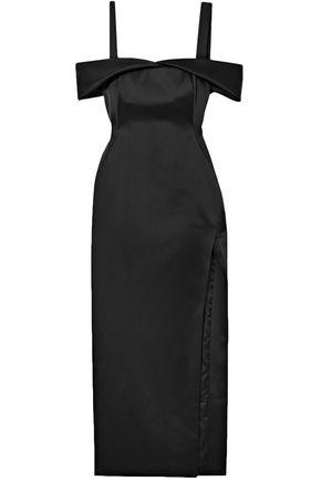 OFF-WHITE™ Cold-shoulder cutout satin midi dress
