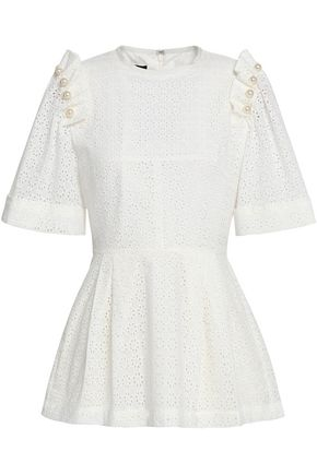 MOTHER OF PEARL Embellished cotton broderie anglaise peplum top