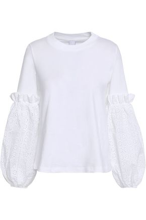 MOTHER OF PEARL Broderie anglaise-paneled cotton-jersey top