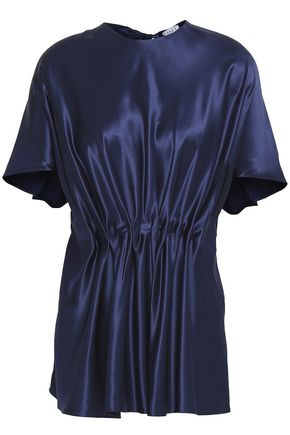 VIONNET Gathered silk-satin top