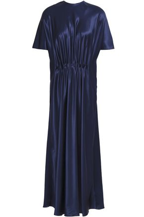 VIONNET Gathered silk-satin midi dress