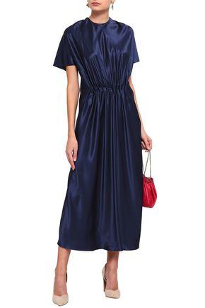 VIONNET Gathered silk-satin midi dress