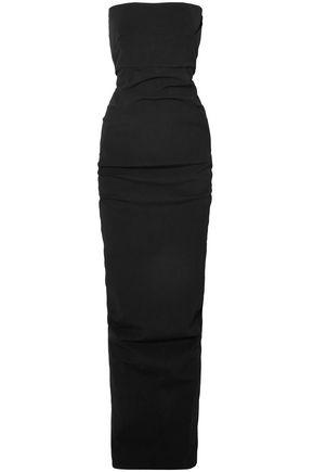 RICK OWENS Strapless split-back stretch-cotton gown