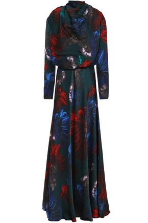 VIONNET Floral-print silk-satin maxi dress