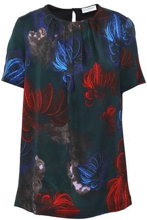 VIONNET Pleated floral-print silk top