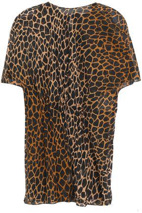 VIONNET Leopard-print silk-voile top