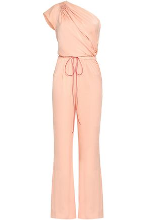 VIONNET One-shoulder smocked stretch-silk jumpsuit