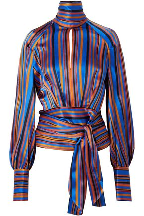 PETAR PETROV Cutout striped silk-satin turtleneck blouse