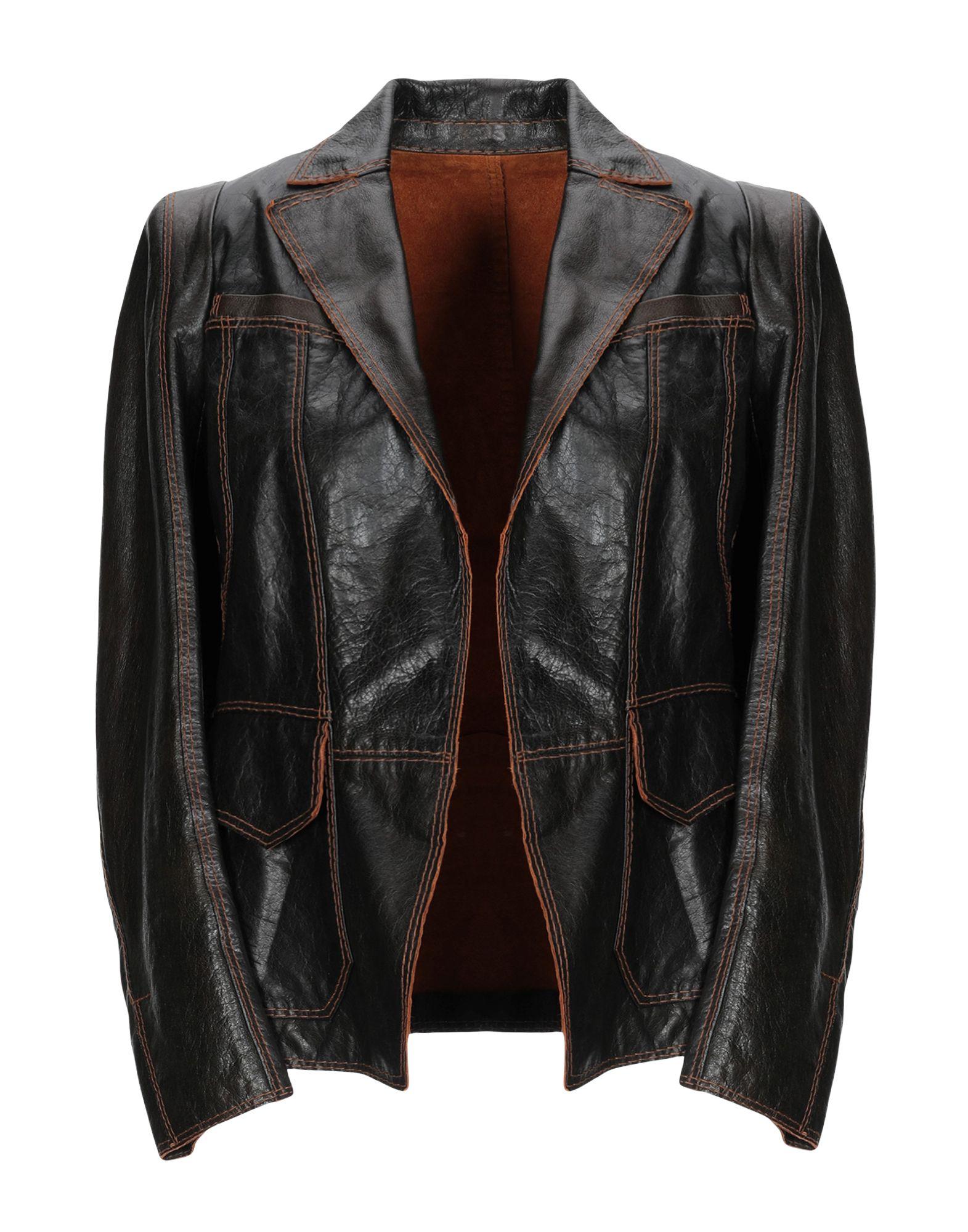 《送料無料》SYLVIE SCHIMMEL レディース テーラードジャケット ダークブラウン 38 羊革(ラムスキン) 100%