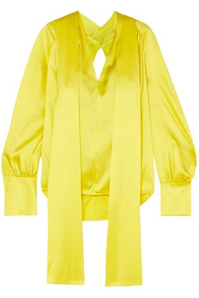 PETAR PETROV Cutout silk-satin blouse