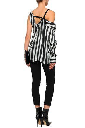ANN DEMEULEMEESTER Asymmetric striped silk-satin blouse