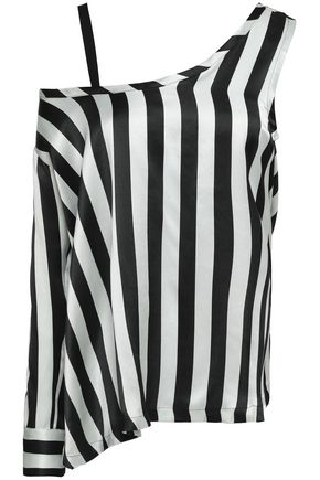 ANN DEMEULEMEESTER Asymmetric striped silk-satin blouse