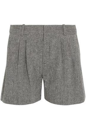 CHLOÉ Herringbone wool-blend shorts