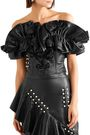 RODARTE Strapless cropped ruffled leather top
