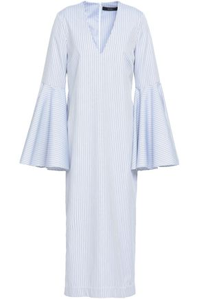 ELLERY Striped cotton-jacquard midi dress