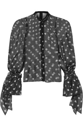 PETAR PETROV Edda leather-trimmed polka-dot silk-organza blouse