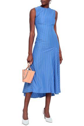 ELLERY Nightwood pinstriped cotton-poplin midi dress