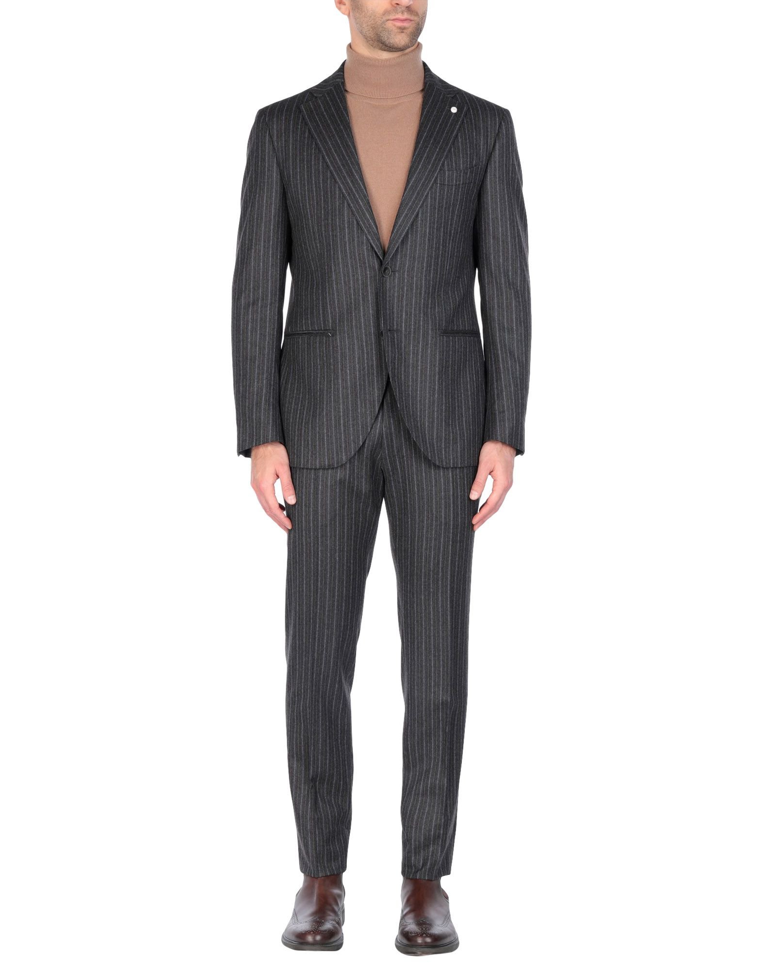 《送料無料》LUIGI BIANCHI Mantova メンズ スーツ スチールグレー 50 バージンウール 100%