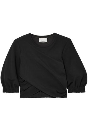 3.1 PHILLIP LIM Wrap-effect cropped stretch-jersey top